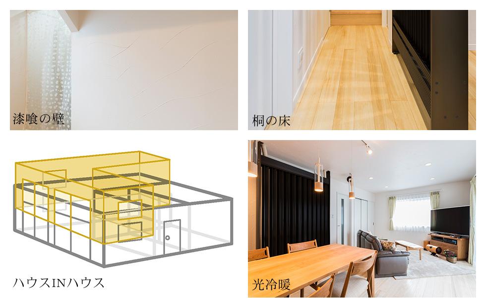 漆喰の壁 桐の床 ハウスINハウス 光冷暖